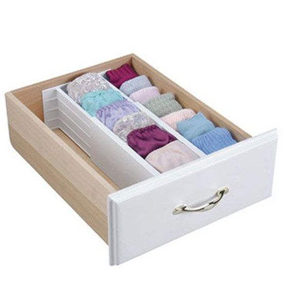 These 4 Inch Spring Loaded Drawer Dividers are great for sectioning off your dresser drawer