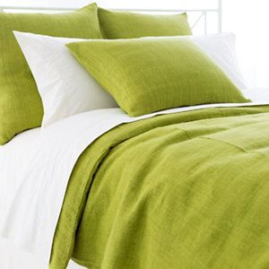 Stone Washed Linen Green Duvet Cover | Pine Cone Hill