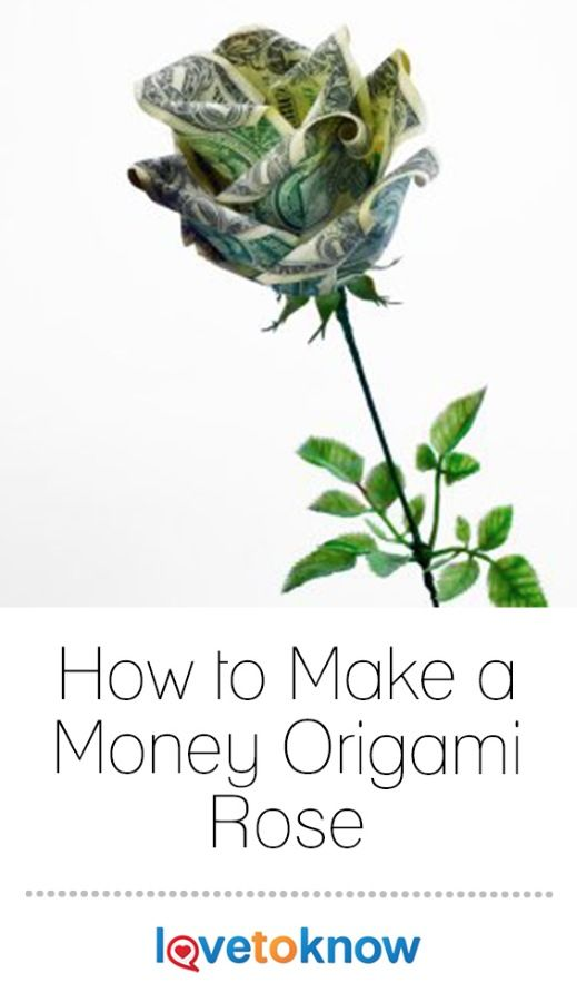 If you're looking for a romantic folded paper gift or a special way to show you care, consider making an origami rose out of paper money. These roses can be made with any denomination of bills, so they can be used as a gift on their own or as an embellishment for a larger present. | How to Make a Money Origami Rose from #LoveToKnow