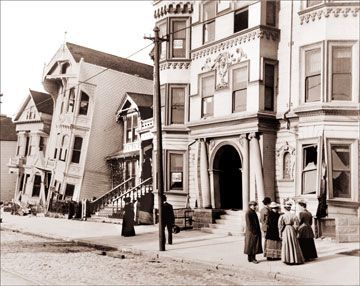 This photo shows Howard St. in the aftermath of the 1906 San Francisco earthquake. The building is on a severe tilt and was the subject of many photographs.