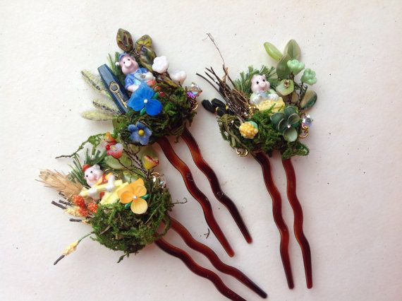 Lot of Fairy Tales hair pins 3 little pigstiny от Lunabarocca