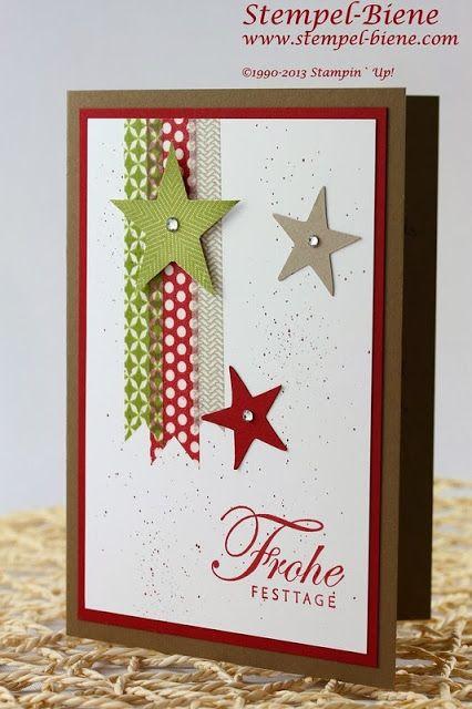 Designerpapier im Block Stilmix; Simply Stars; Weihnachtskarte; Stampin' up…