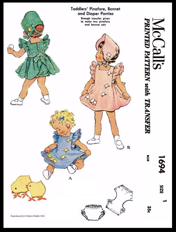 BABY BONNET Sewing Pattern McCall's 1694 Child Girls