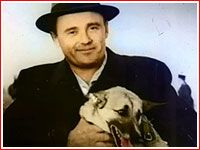 Korolev with one of the dogs launched on rockets in Kapustin Yar.