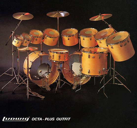 """Very nice Ludwig Octa-Plus kit in natural wood finish, with deep 6.5"""" x 14"""" snare. Anybody know the vintage? I'm guessing late 70s/early 80s..."""