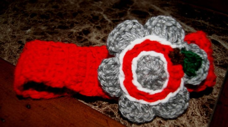 Fall and Winter Fashion Headband, OSU/ Buckeye /Handmade Ohio State Headband with Crocheted Flower / Any Size Headband / Grey Red Earwarmer. $10.00, via Etsy.