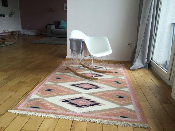 Teppich handgetuftet altrosa pink orientmuster skandinavisch Marokkanisch Kelim Kilim