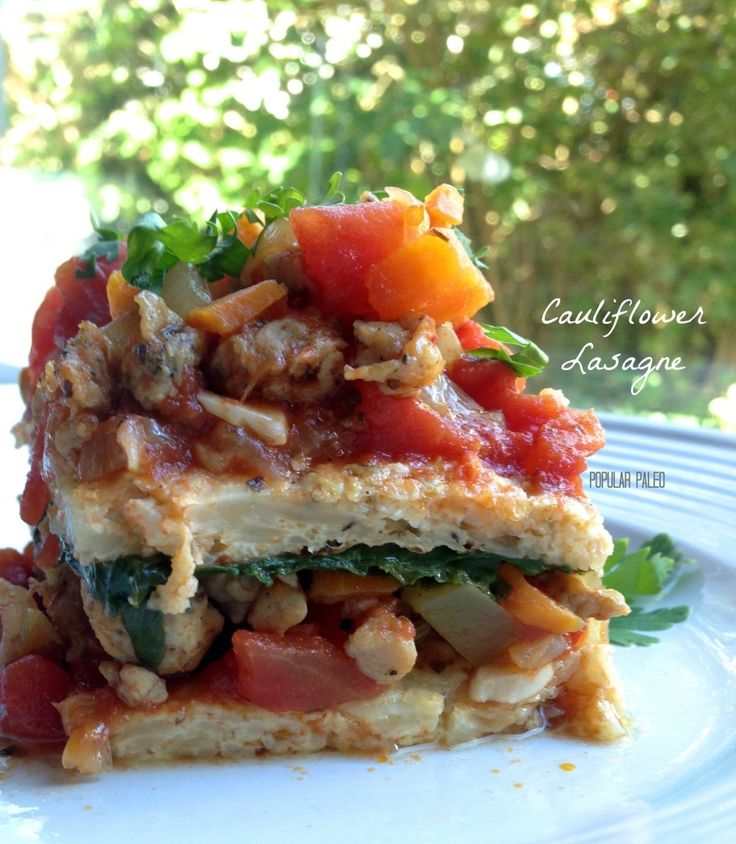 Paleo Cauliflower Lasagne on www.PopularPaleo.com   Totally grain, gluten and dairy free for special diets!