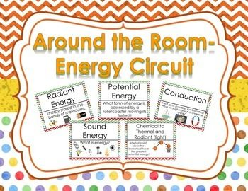 Engage your students with this Around the Room Energy Circuit Activity.  This activity contains 20 questions and answers.  Circuits are great for review and rotations to get your students up and moving!  Topics included are:  -7 Forms of Energy (Mechanical, Radiant, Chemical, Electrical, Nuclear, Thermal, and Sound) -Potential and Kinetic Energy -Energy Definition -Energy Transformation Definition -Energy Transformation Examples -Conduction, Convection, and Radiation -Pictures included to…