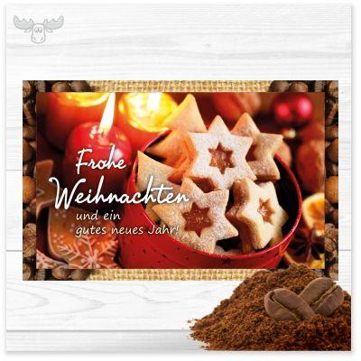 """""""Frohe Weihnachten und ein gutes neues Jahr!"""". Weihnachtsgrußkarte mit ca. 200g Kaffeepulter und schönem weihnachtlichen Motiv für Ihre Kunden, Geschäftspartner und Mitarbeiter."""