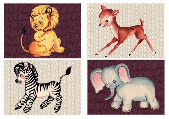 Retro Animals Wall Art Prints - Children's Bedroom Art, Kids Room Art, Nursery Art - Set of 4