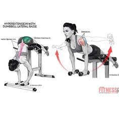 """""""#Hyperextension #dumbbell #lateral_raise #exercise #workout #muscle #women…"""