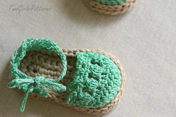 CROCHET PATTERN Baby Girl Espadrille Sandals  by TwoGirlsPatterns, $5.50