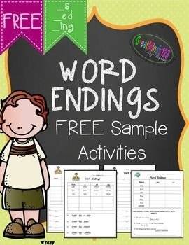 These are free sample pages from our Word Endings (_s, _ed, _ing, _es, _ful and _ly) Word Work unit.  In this free sample there are printable worksheets focused on verb endings _s, _ed, _ing and plural words ending with _y.   Our FULL UNIT is 115+ pages and includes worksh