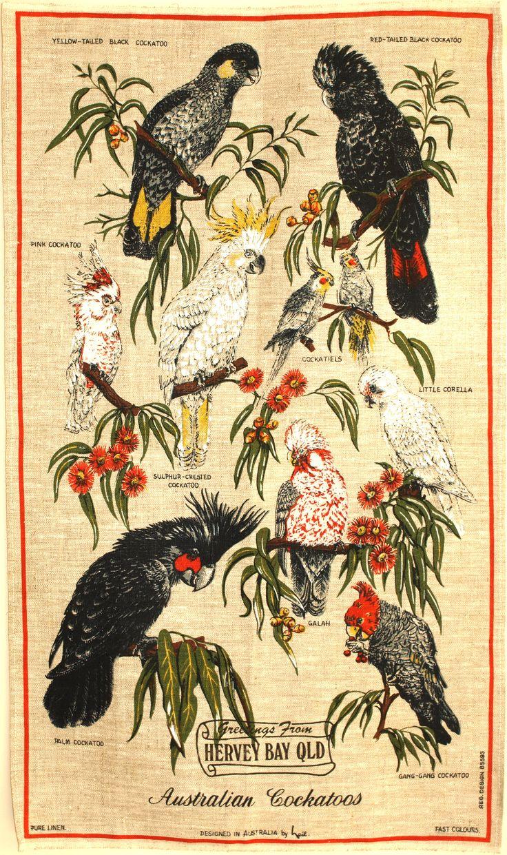 Vintage Australian Cockatoos Tea Towel - Polish Linen Design by Neil Australia Birds Tea Towel - New Old Stock by FunkyKoala on Etsy