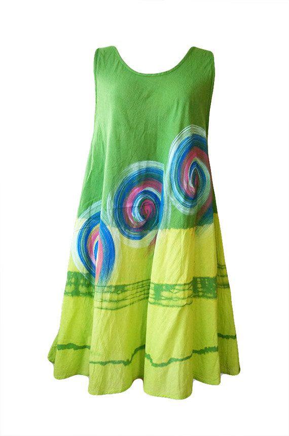 Green Cotton Summer Dresses Cotton Sundress Thai by ThaiOnline