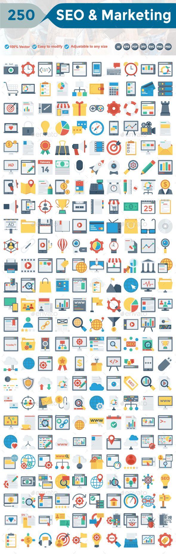 SEO and Marketing Flat Icons