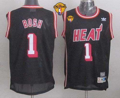 Heat  1 Chris Bosh Black Hardwood Classics Nights Finals Patch Stitched NBA  Jersey dfe17e92f