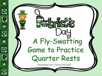 This St Patrick's Day themed fly-swatting activity is for practicing the rhythmic concepts of the quarter note (ta), paired eighth notes (ti-ti) and the quarter rest (ta rest).   The first set of 16 slides have one rhythmic pattern per slide for you to prepare your students before playing the game. The next set of 12 slides each have two rhythmic patterns per page. The third set of 8 slides have three rhythmic patterns per page and the last four slides have four patterns.