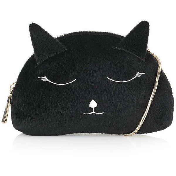 TOPSHOP Felt Cat Crossbody Bag (54 CAD) ❤ liked on Polyvore featuring bags, handbags, shoulder bags, bags clutches/wallets, black, felt handbag, topshop purses, cat handbag, crossbody shoulder bag and crossbody handbags