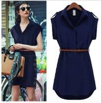 2014 spring summer women's loose plus size one piece dress new arrival new arrival chiffon shirt dress plus size-inDresses from Apparel & Ac...