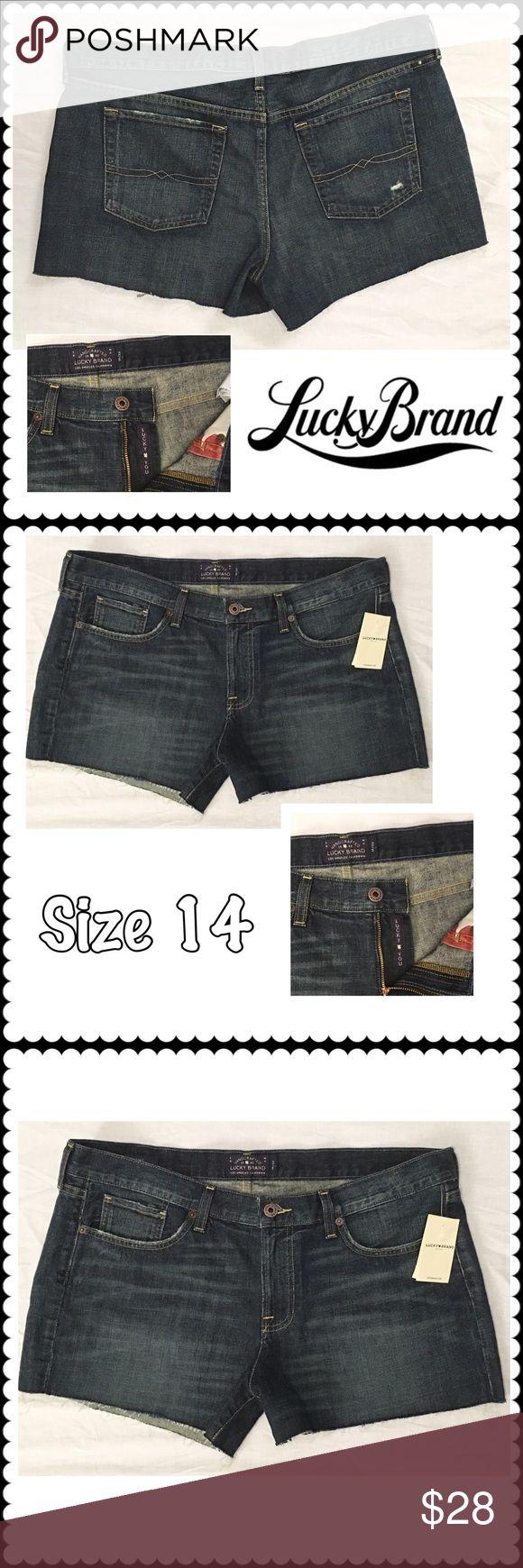 "NEW Cutoff Jean shorts by LUCKY BRAND Sz 14 Dark denim cutoff shorts by LUCKY BRAND. Sz 14 (19"" across waist, 3"" inseam) Cute! Lucky Brand Shorts Jean Shorts"