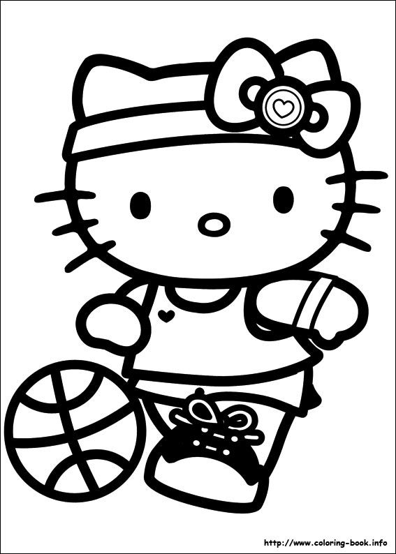 Hello Kitty Baking Coloring Pages : Hello kitty playing basketball coloring