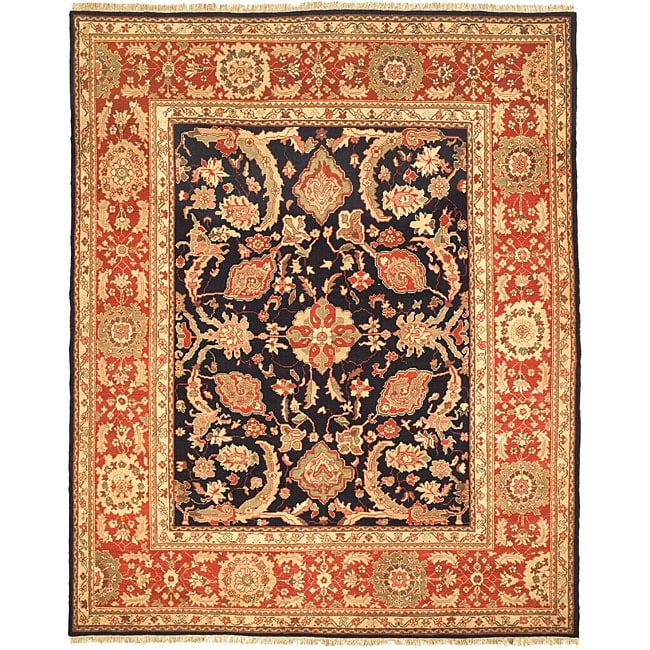 Safavieh Oushak Legacy Hand-knotted Navy/ Rust Wool Rug (8' x 10'), Multi, Size 8' x 10' (Natural Fiber, Oriental)