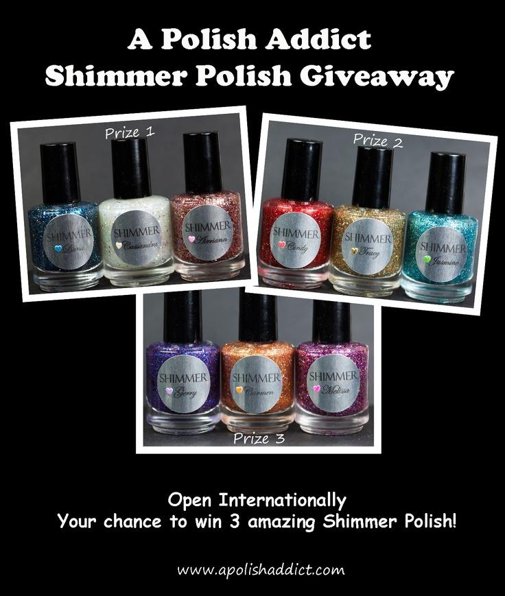 Shimmer Polish Giveaway at www.apolishaddict.com !!