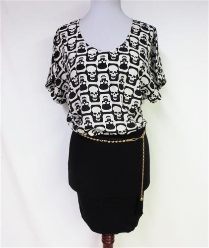 Your Just Skull Talk Dress w/chain belt-NEW! $64.95 S/M/L