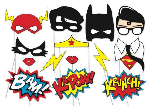 Superhero Photo booth Party Props Set - 14 Piece PRINTABLE - Superheros, Flash, Robin, Batman, Superman, Catwoman,…