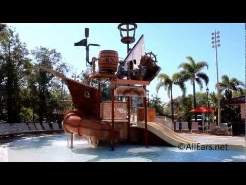 Kid's Pirate Themed Splash Zone at Caribbean Beach Resort Walt Disney World - YouTube