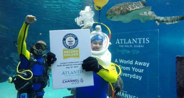 Dubai radio station sets world record for Longest Underwater Live Broadcast - Info