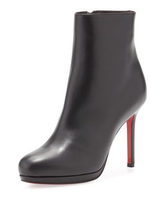 Bootylili Leather Red Sole Ankle Boot, Black by Christian Louboutin at Neiman Marcus.