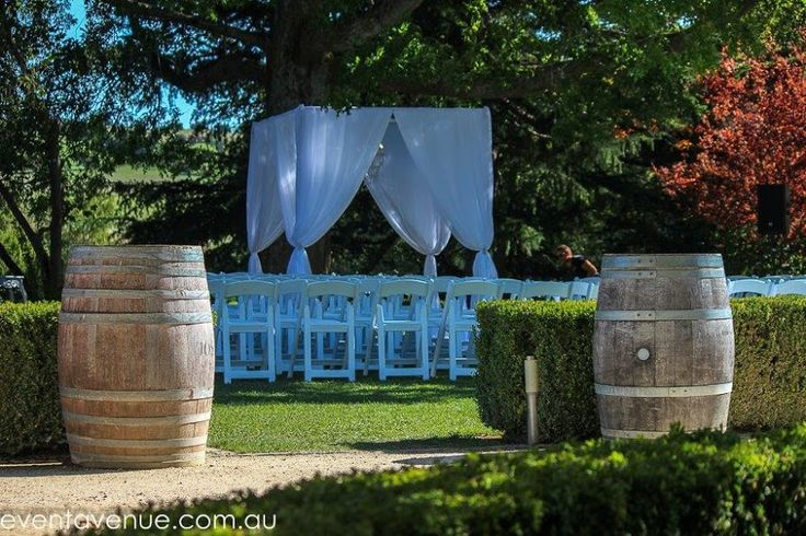 Mixed vintage and modern outdoor wedding ceremony