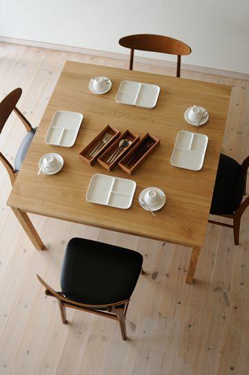 ナラ引出付正方形ダイニングテーブルtypeS W110cm / カグオカ