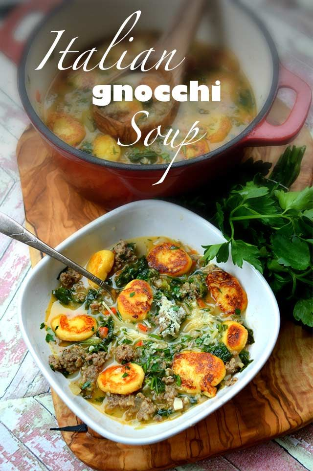 Italian Gnocchi Soup aka Zuppa Toscana looks amazing -- a must-try from KetoDiet App! #healthy #lowcarb