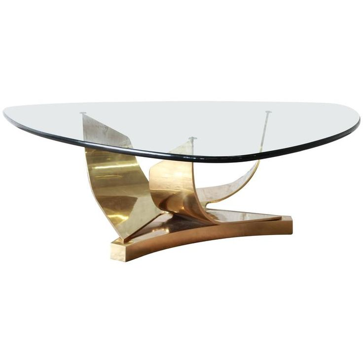 Ron Seff Sculptural Brass and Glass Cocktail Table, circa 1980s | From a unique collection of antique and modern coffee and cocktail tables at https://www.1stdibs.com/furniture/tables/coffee-tables-cocktail-tables/