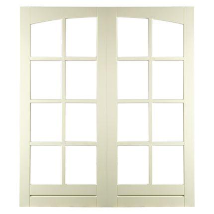 BD82T stapeldorpel achterdeur. Twee deuren waarvan de vormen in elkaar overlopen en die schitterend als tuindeuren of openslaande deuren kunnen dienen.