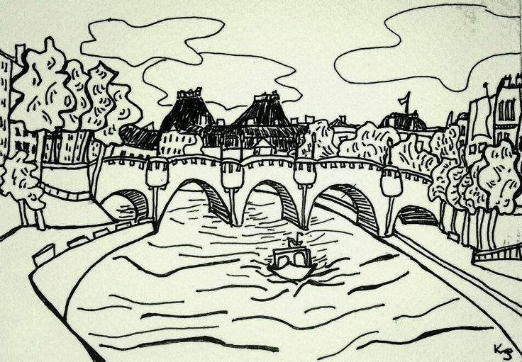 my drawing of Pont Neuf, Paris, France, ink on paper by Katie Jurkiewicz.
