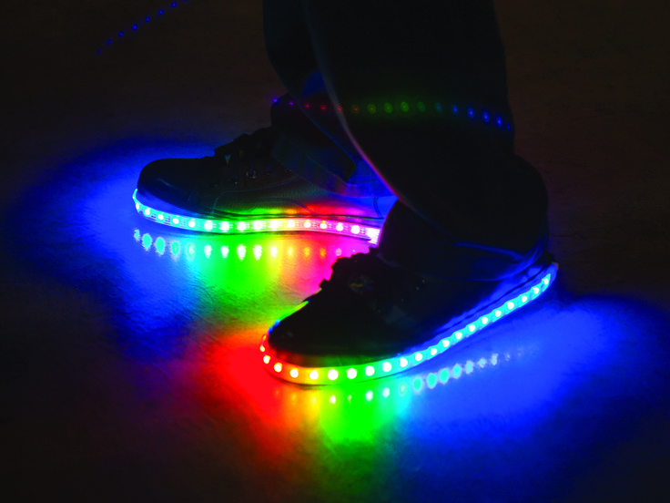 The light-up shoes from your childhood are all grown up — these Luminous Lowtops are force-sensitive, full-color LED light-up shoes for adults. Each shoe has two embedded force-sensitive resistors ...
