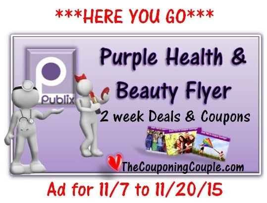 ***HERE YOU GO*** Here is the NEW Publix Purple Health-Beauty Flyer 11-7 thru 11-20-15 with Coupon Matchups! Click the link below to get all of the details ► http://www.thecouponingcouple.com/publix-purple-health-beauty-flyer-11-7-thru-11-20-15/  Includes all of these GREAT FEATURES: 1. Final Prices for 1/2 Price BOGO FREE AND True BOGO! 2. Final Prices for people who get Double Coupons AND People who DO NOT get Doubled coupons!! 3. DIRECT LINKS to all Printable Cou