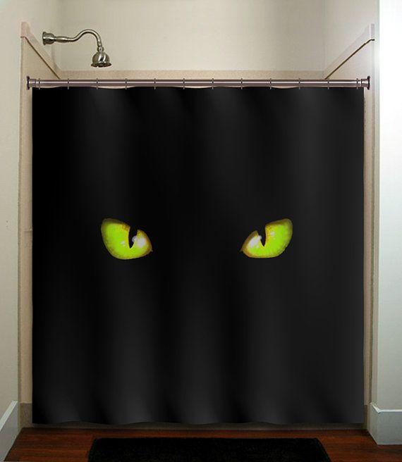 Green eyes cat shower curtain bathroom decor by for Crazy bathroom designs
