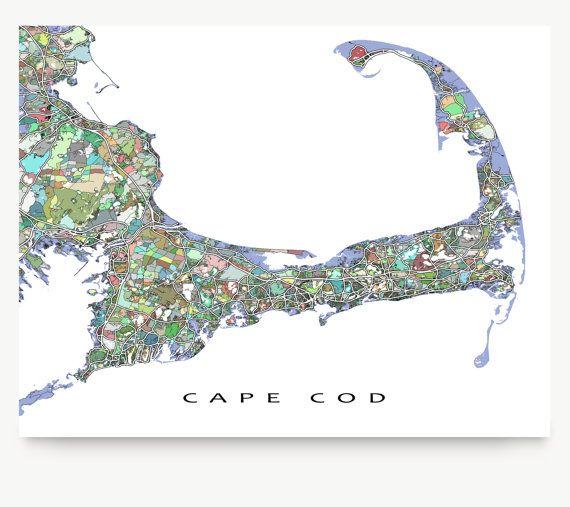 Cape Cod Map Cape Cod Art City Map Print Street Art by MapsAsArt