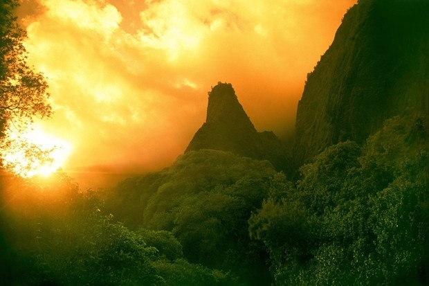 Iao needle sunset, maui, hawaii