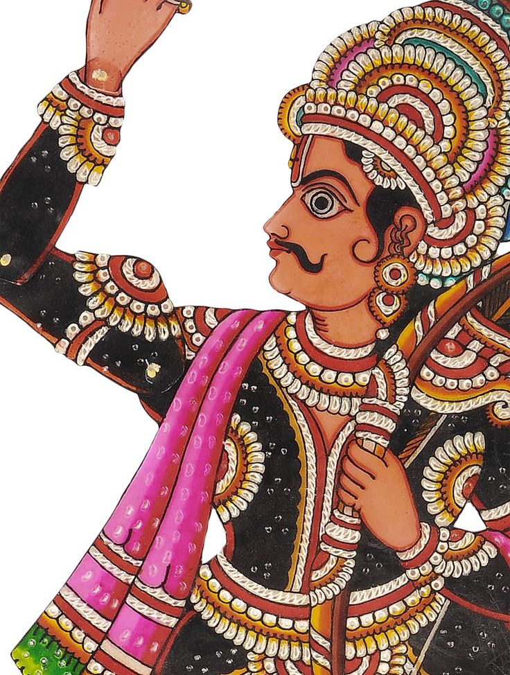 Leather Puppet Hanging   Carrying a beautiful spectrum of colors on its body, this vernacular leather Puppet Hanging from Andhra Pradesh, depicts episodes from the country's folklore. The perforation executed on the colored leather gives an appearance of rich ornamentation against a lit backdrop.