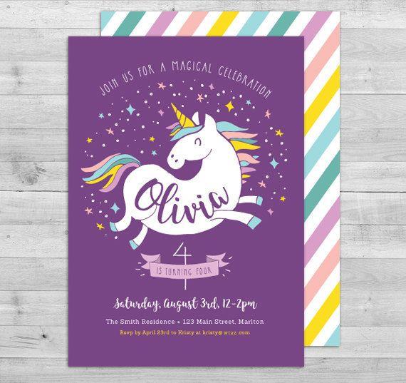 Unicorn Invitation Unicorn Birthday Invitation by WLAZdesignSHOP