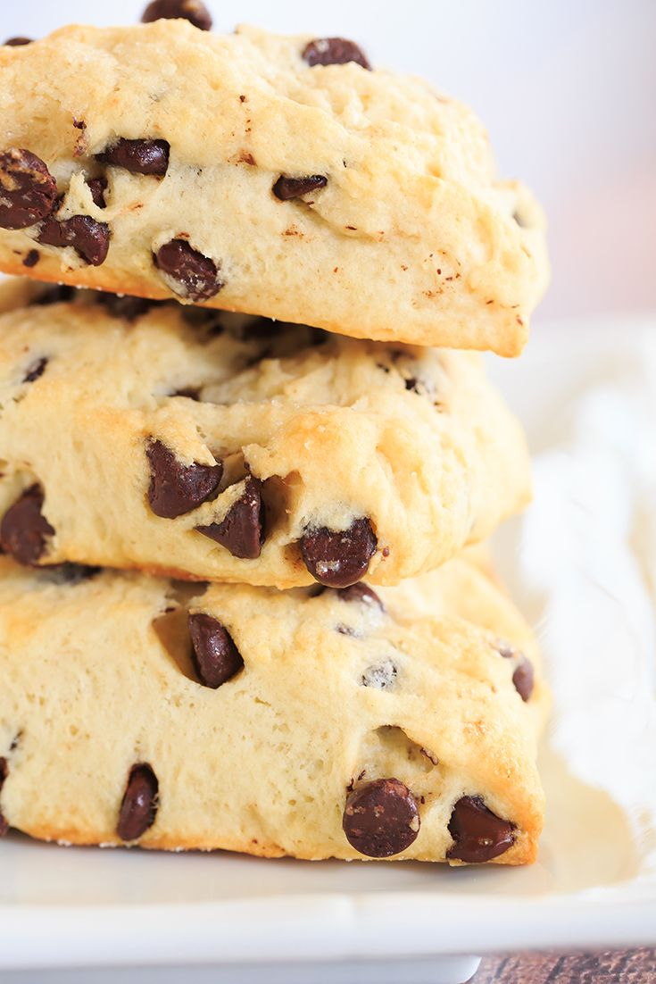 Chocolate Chip Scones - wonderfully tender and perfect alongside a cup of coffee for breakfast or dessert! | http://www.browneyedbaker.com/chocolatey-morning-goodness/
