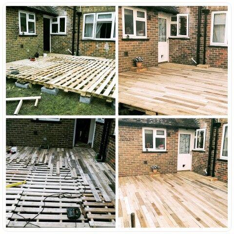 25 beste idee n over houten terras op pinterest buiten for Zelf zwembad bouwen betonblokken