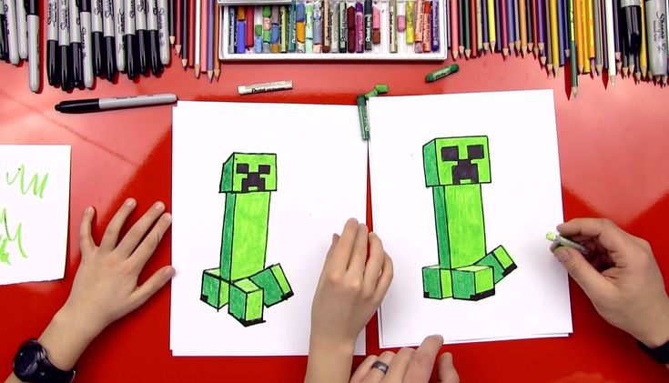 Get something draw with and a piece of paper, we're going to learn how to draw a creeper from Minecraft...oh ya!